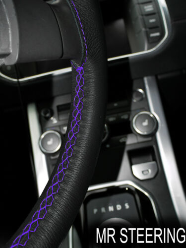 FOR 97-06 JEEP WRANGLER II TJ LEATHER STEERING WHEEL COVER PURPLE DOUBLE STITCH