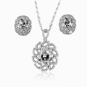 18k white gold made with Swarovski crystal earrings necklace wedding party set