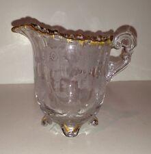 Antique Small Cut Etched Glass Creamer Floral Design Gilded Edges Cambridge