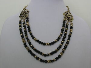 Lucky-Brand-Gold-Tone-Black-Bead-3-Row-Necklace