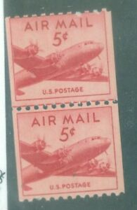 US-C37 AIR MAIL 5c ISSUED 1948 MNH JOINT LINE PAIR COIL