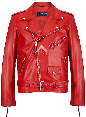 /'BRANDO/' Mens Biker Leather Jacket Black 100/% Real Leather Fashion Jacket SR-MBF