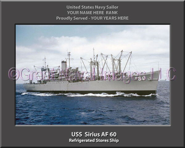 USS Sirius AF 60 Personalized Canvas Ship Photo Print Navy Veteran Gift