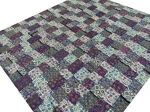 Quilt-Patchwork-Kantha-Bedspread-King-Bed-cover-Handmade-Blanket-Floral-India-L5