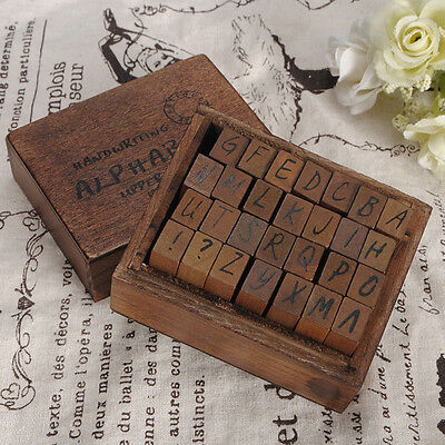 28Pcs Set Vintage Alphabet Handwriting Capital Letter Rubber Stamp Wooden Box