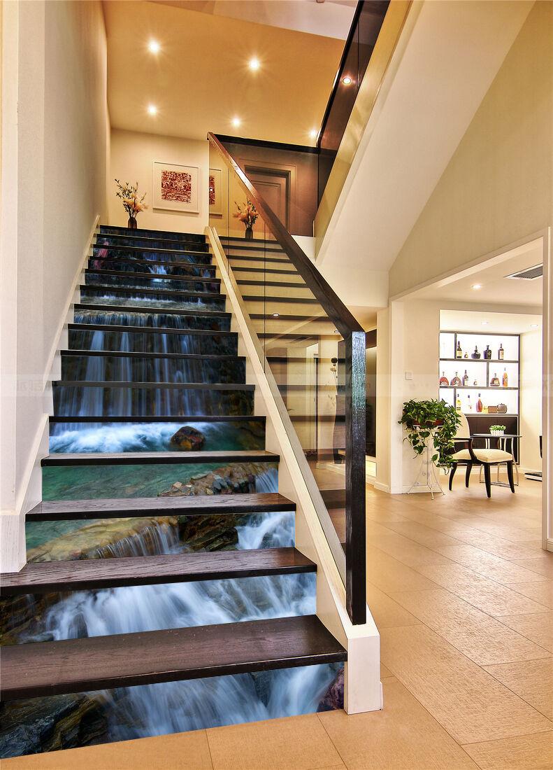 3D Leiter Fluss 459 Stair Risers Dekoration Fototapete Vinyl Aufkleber Tapete DE