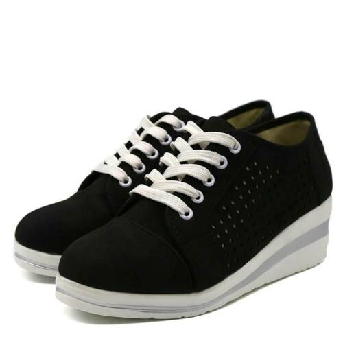 Women Wedge Heel Hollow Lace-Up Sneaker Shoes Comfort Casual Trainers AA