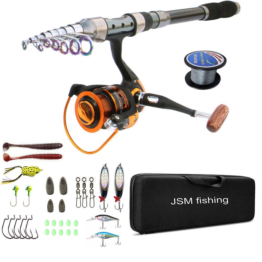CANNA da pesca e mulinello combo pesca d'acqua salata in Fibra di autobonio Mulinello Canna Spinning Set