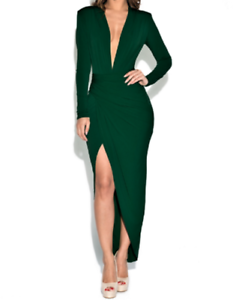 JOHN-ZACK-FOREST-GREEN-PLUNGE-V-NECK-DRESS
