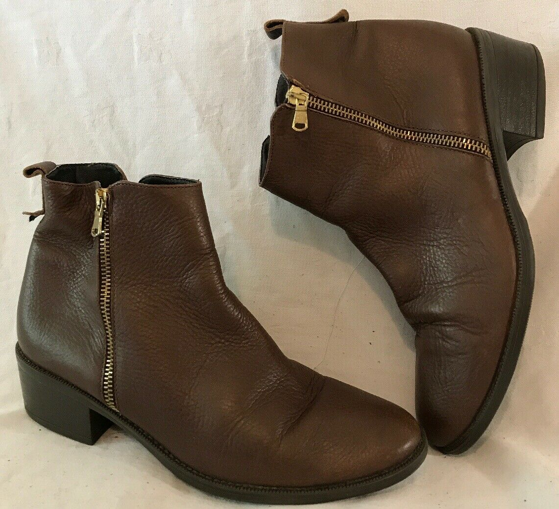 Oasis Brown Ankle Leather Lovely Boots Size 41 (284vv)