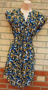 H-amp-M-Amarillo-Azul-Abstracto-manchado-con-cinturon-vestido-manga-corta-una-linea-Shift-10-12