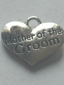 1 o 4 &#034;Madre del Novio Boda De Corazón De Diamante de imitación de&#034; Plata Tibetana tema Encanto  </span>