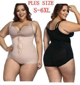 28557be4ae Image is loading Women-Plus-Size-Underbust-Corset-Waist-Trainer-Bodysuit-