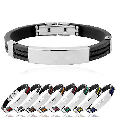Stainless Steel Cross ID Black Rubber Men Women Cuff Bracelet Wristband Bangle
