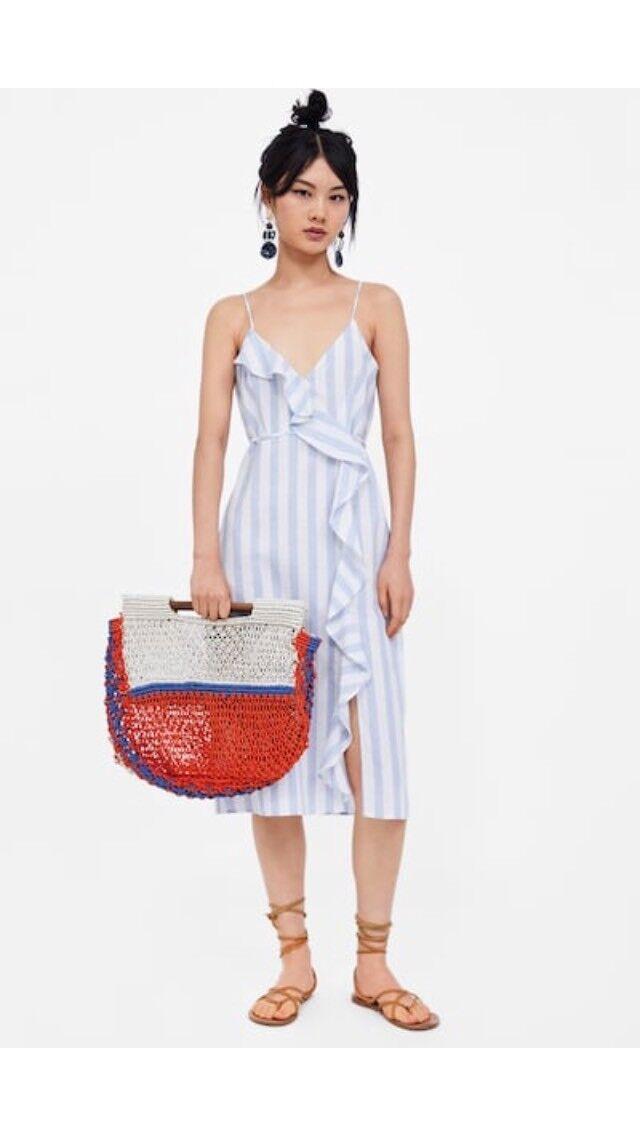 Brand New Zara Frilled Stripe bluee White Dress Size M