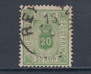 Iceland Sc O8 used 1876 20a yellow green Offical, fresh & F-VF