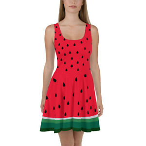 Details about Cool Red Watermelon Skater Dress Summer Circle Skirt Juniors  to Plus Size