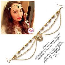 Hijab Pin Wedding Bridal Tikka Hair Bracelet jewellery Head piece gold champagne