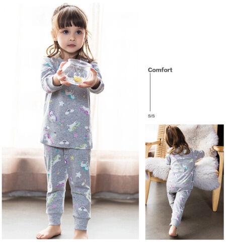 Toddler Kid PJS little big Girls Organic Cotton Pink Pajamas Set Sleepwear Cloth