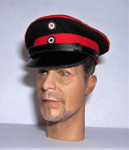 Banjoman 1:6 Scale Custom Made WW1 German Officer/'s Black Red Visor Cap