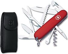 Victorinox Swiss Army Red Huntsman With Black Leather Pouch Belt Clip 53820 NEW