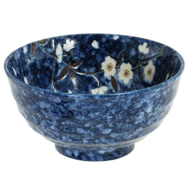 """Japanese 6.75""""D Porcelain Rice Soup Noodle Bowl Blue Sakura Flower Made in Japan"""