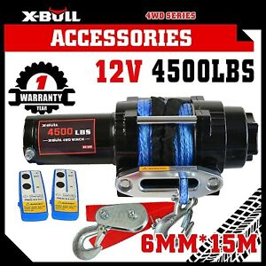 X-BULL-4500LBS-2041kg-Electric-Winch-Synthetic-Rope-2-Remote-Wireless-ATV-12V