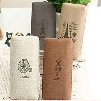 Classy Canvas Pencil Pen Case Cosmetic Makeup Coin Pouch Zipper Bag Purse Potent