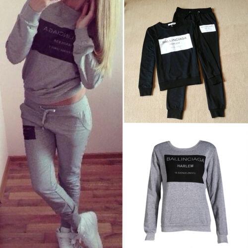 Women 2pcs Tracksuit Coat+Pants Casual Sport Suit Letter Print Hoodie Sweatshirt