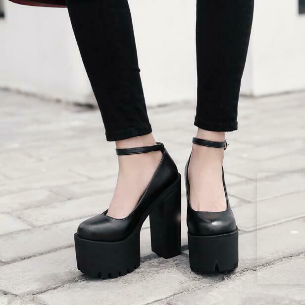 Womens Fashion Mary Jane Ankle Strap Chunky Block High Heels Gothic Bar shoes