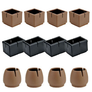 16x Square Silicone Chair Leg Cap Pad Furniture Table Feet Cover Floor Protector