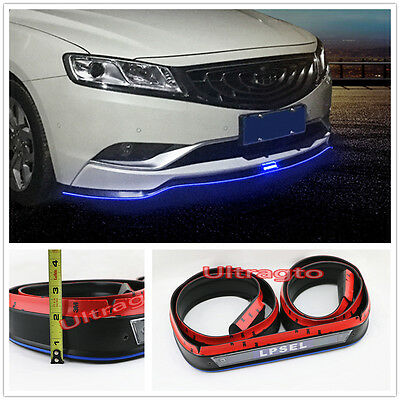 SOLAR LED LIGHT FRONT BUMPER LIP SPLITTER BODY VALENCE CHIN TRIM SIDE SKIRT