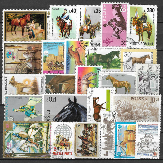 HORSES Collection Packet of 25 Different WORLD Stamps featuring HORSES (Lot 2)