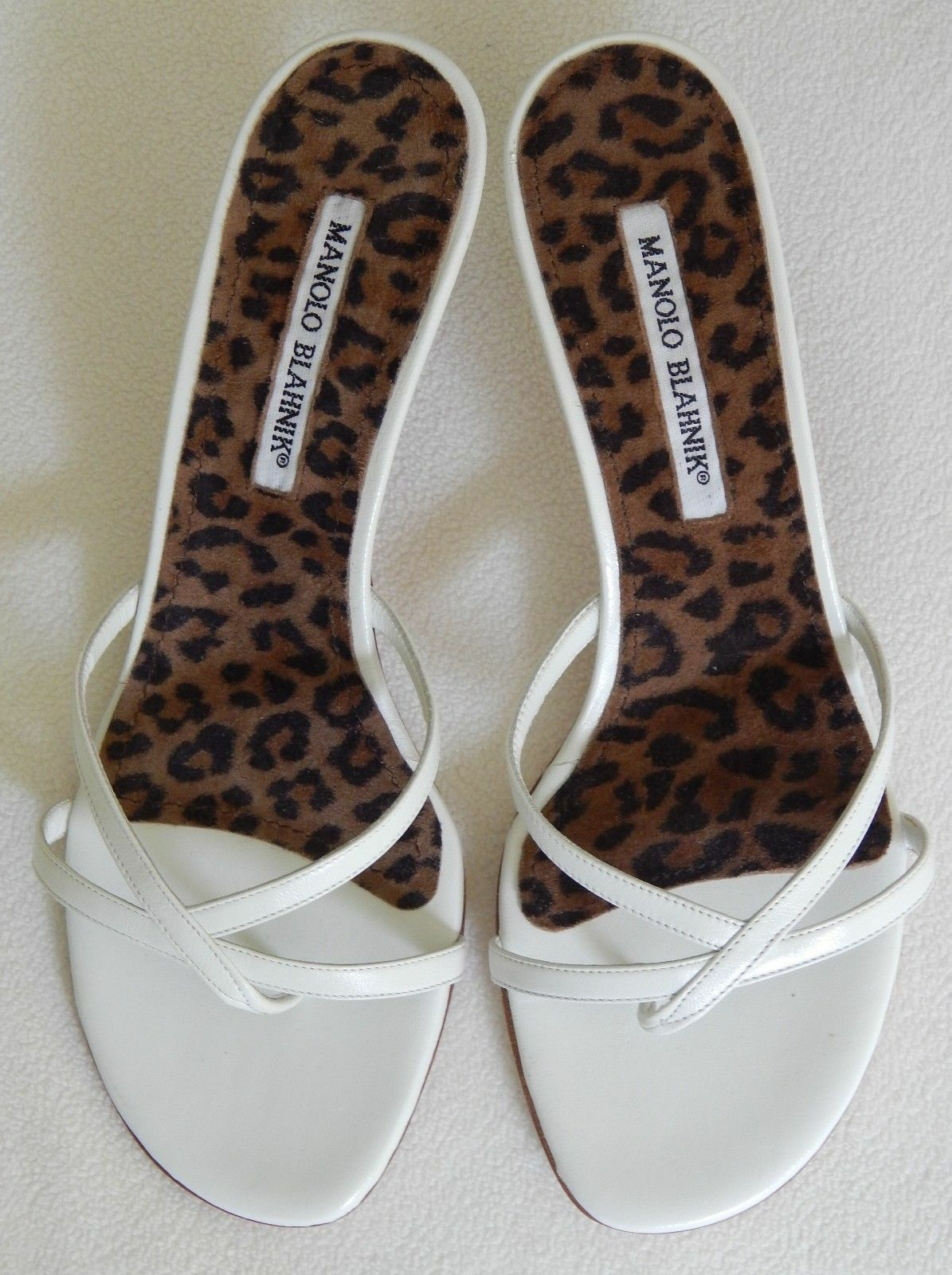 STYLISH NEW  645 MANOLO MANOLO MANOLO BLAHNIK SANDALS IN WHITE LEATHER (NWOB) 23788d