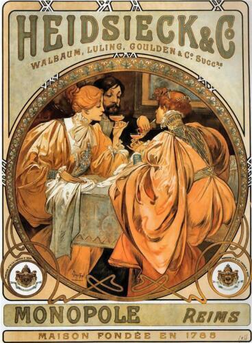 Alphonse Mucha LARGE A3 Size Print Heidsieck Co Reims Art Nouveau Poster NEW