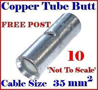 10 tube en cuivre Butt connecteur pour câble taille 35 mm² nous vendre Grand Ring Terminals