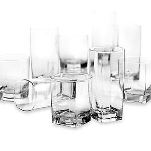 Image Is Loading Gl 16 Piece Clear Drinking Set Water Kitchen