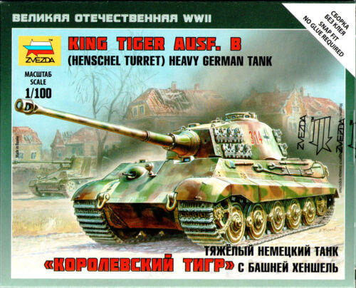 1/100 King Tiger II Ausf. B with Henchel turret 15mm Flames Of War Zvezda War