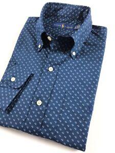 Ralph-Lauren-Shirt-Men-039-s-Navy-Blue-Mini-Peacock-Print-Custom-Fit-Cotton-Stretch