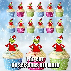 wholesale dealer 4a27f 6b1d4 Details about PRE-CUT The Grinch - Edible Cup Cake Toppers Decorations /  Christmas Party