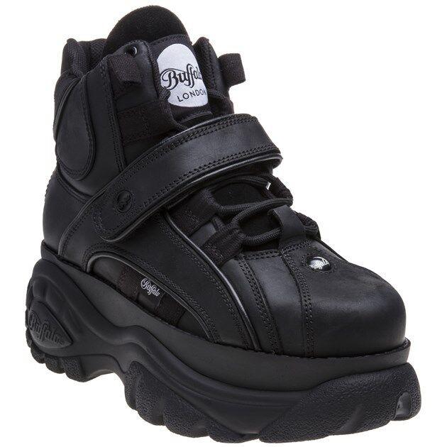 Neue Damen Buffalo schwarz 1348 14 2.0 Leder Stiefel Stiefeletten zum Schnüren