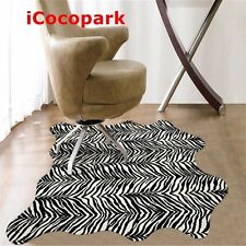 Zebra Print Rug Faux Fur Area Rugs Hide Animal Mat Carpets for Home 43.3x29.5in