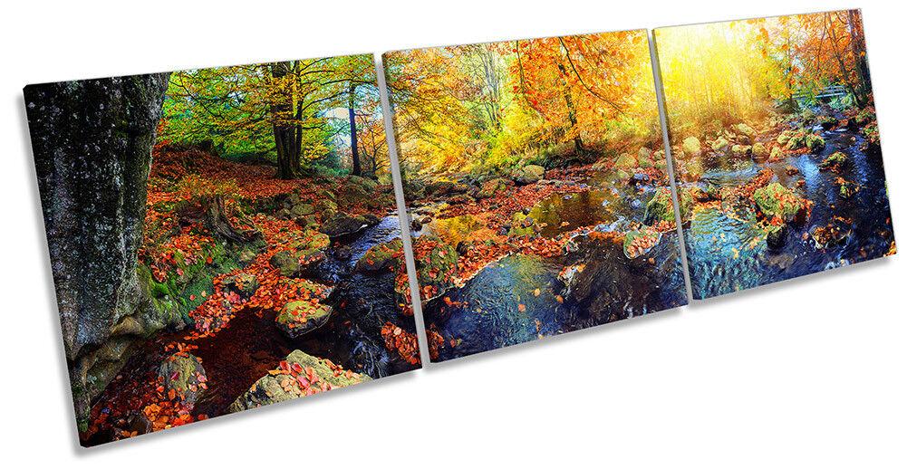 Autumn Landscape Scene Picture CANVAS WALL ART Triple Print