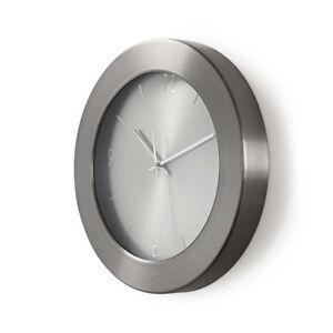 Details zu 35cm Wanduhr Küchenuhr Design modern Küche Quarzuhr Uhr  Edelstahl Metall silber