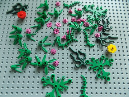 52 Pieces LEGO FOLIAGE PARTS Trees Bushes Plants Flowers Leaves Branches