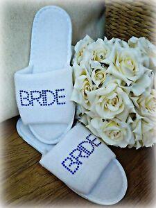 Zapatillas Blanco Personalizado Diamante Boda Spa invitado Zapatos De Felpa De azul negrita
