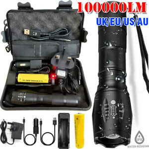 100000LM-T6-LED-Torch-Tactical-Military-Zoomable-Flashlight-Headlamp-Waterproof