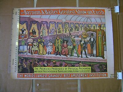 Vintage Barnum /& Bailey Miniposter Peerless Prodigies of Physical Phenomena 1960