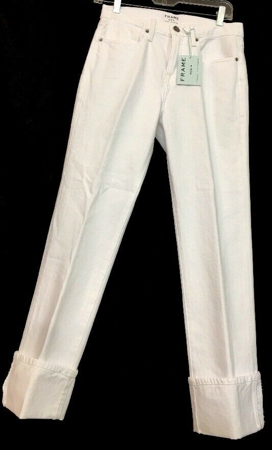 Frame Jean Bright White Over Sized Cuff Size 23 NWT  215