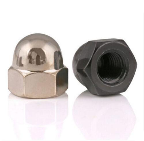 Plated NICKLE BLACK ZINC Ball Knobs HEX Acorn Nuts M3 M4 M5 M6 M8 M10 M12